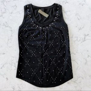 J. Crew | Black Embellished Cotton Tank